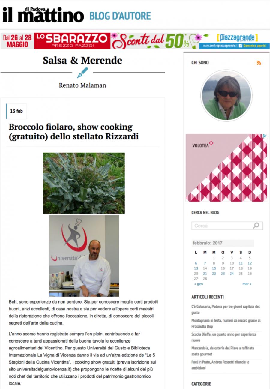 Broccolo fiolaro, show cooking (gratuito) dello stellato Rizzardi