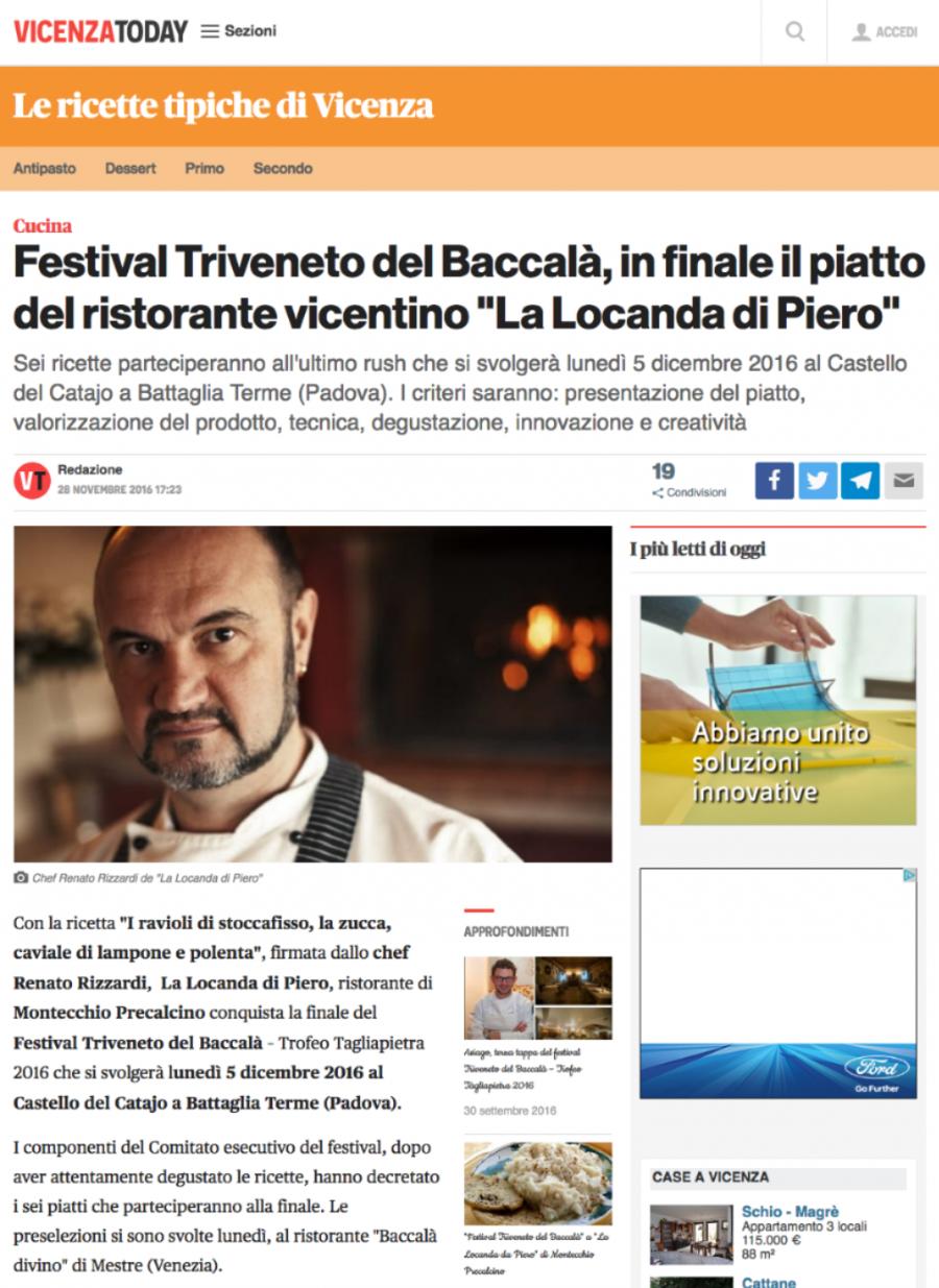 """Festival Triveneto del Baccalà, in finale il piatto del ristorante vicentino """"La Locanda di Piero"""""""